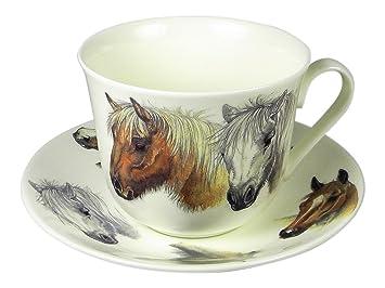 Amazon.com | Roy Kirkham Horse Lovers Breakfast Tea Cup and Saucer ...