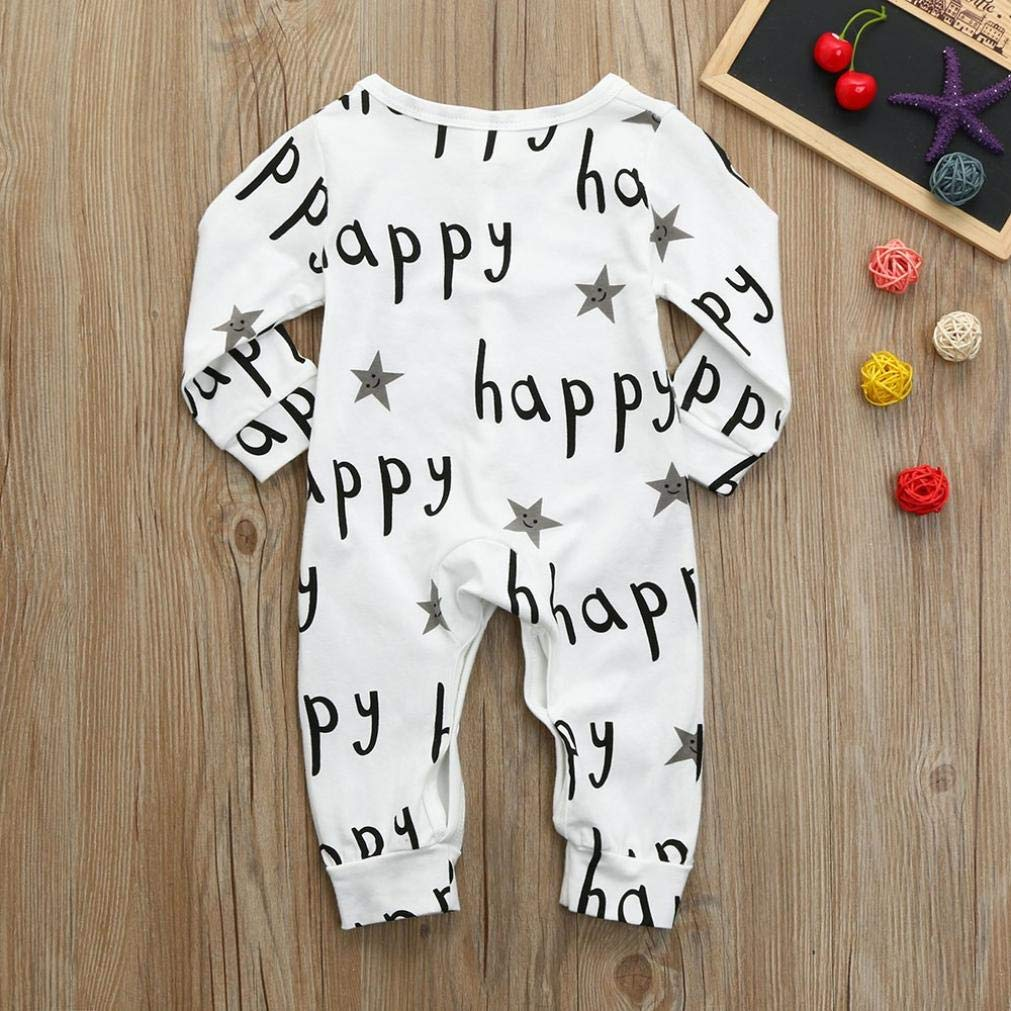 Hstore Baby Boys Girls Romper Letter Five-Pointed Star Print Jumpsuit Clothes HOT