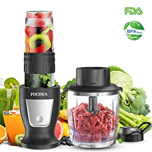 Smoothie Blender, Food Processor Personal Blender With a 570ml Travel Bottle - Stainless Steel Body, Big Button Design, Black,300 Watt