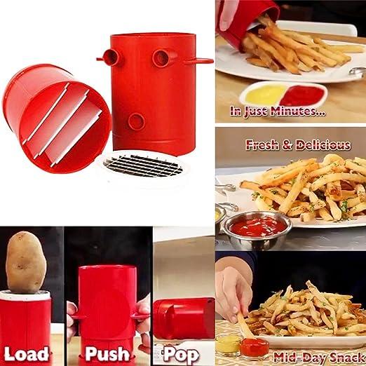 TrifyCore Fries 2-en-1 fritas Patatas fabricante de máquinas de cortar patata francesa máquina del cortador de microondas de contenedores (rojo)