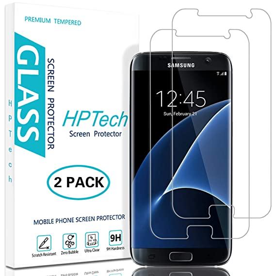HPTech Galaxy S7 Screen Protector - (2-Pack) Tempered Glass Film for  Samsung Galaxy S7 Screen Protector Easy to Install, Bubble Free with  Lifetime