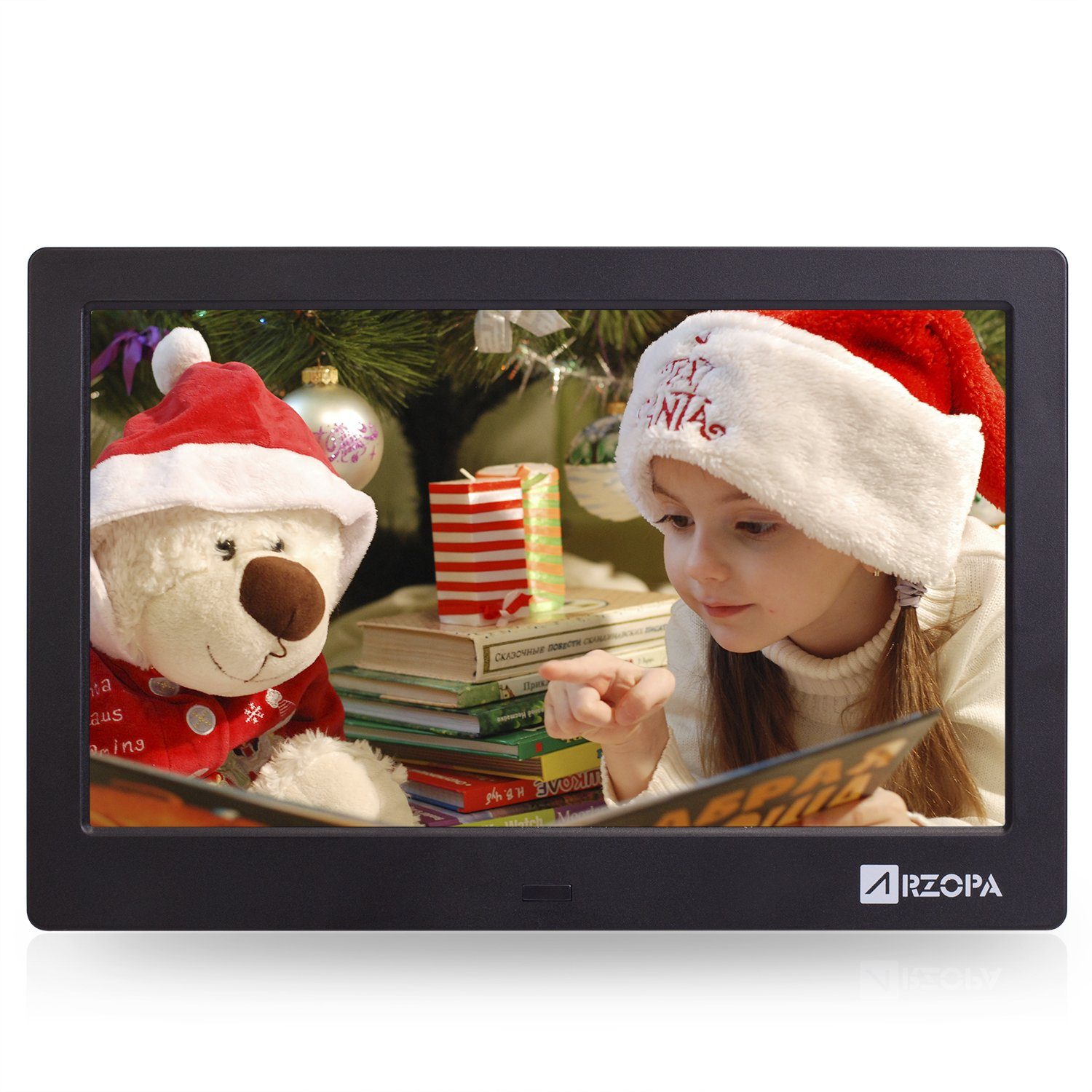 Advanced Digital Picture Photo Frame - HD 1024x600(4:3) IPS Widescreen Eletronic Picture Frame Advertising Player with Calendar/Clock/Remote Control Black 10-inch by Arzopa