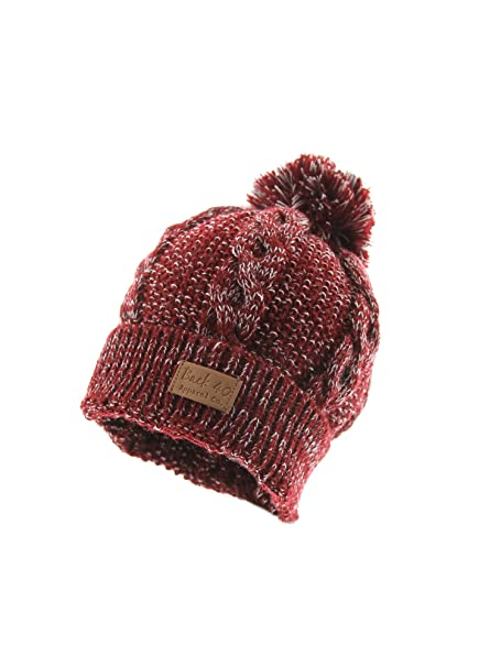 0ff4e7d46fbcf3 Image Unavailable. Image not available for. Color: Cable Pom Pom Cuffed Beanie  Unisex - Maroon Thick and Warm Knit Winter Hat Skull Cap