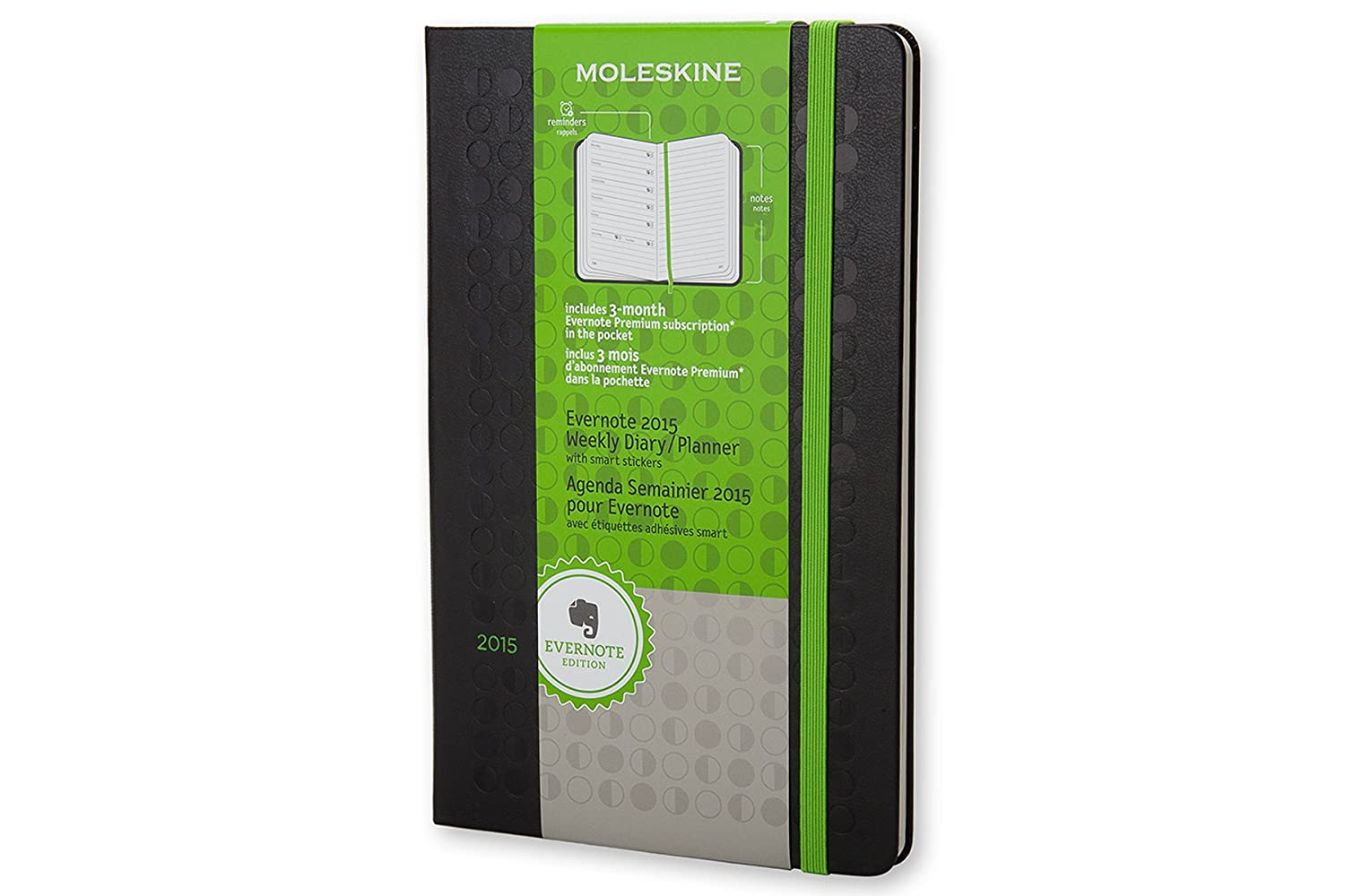 Moleskine 2015 Evernote Planner Weekly Notebook, 12M, Large, Black, Hard Cover (5 x 8.25)