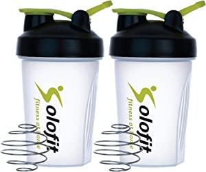 Solofit Protein Shaker Bottles with Shaker Balls– Leak Proof Smoothie & Drink Shaker Bottle – Portable Supplement Mixer Cup - Ideal for Fitness Enthusiasts, Athletes