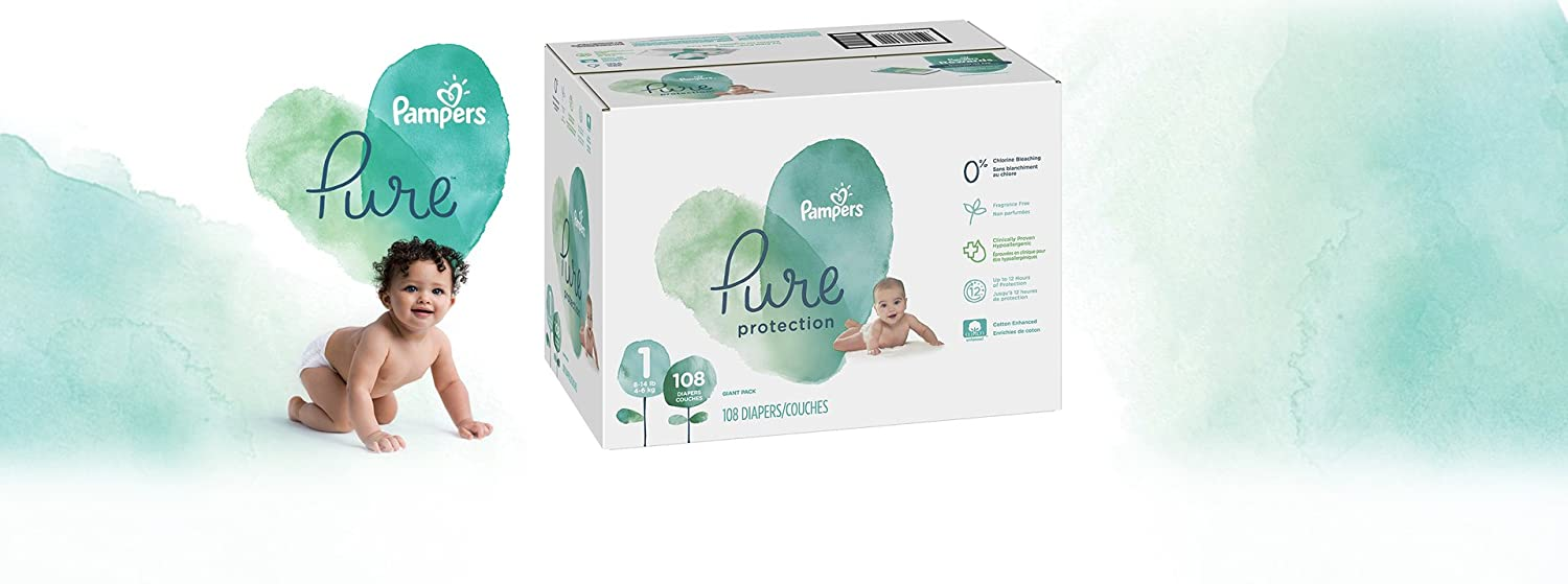 Diapers Size 4 80 Count Hypoallergenic and Fragrance Free Protection Pampers Pure Disposable Baby Diapers Giant