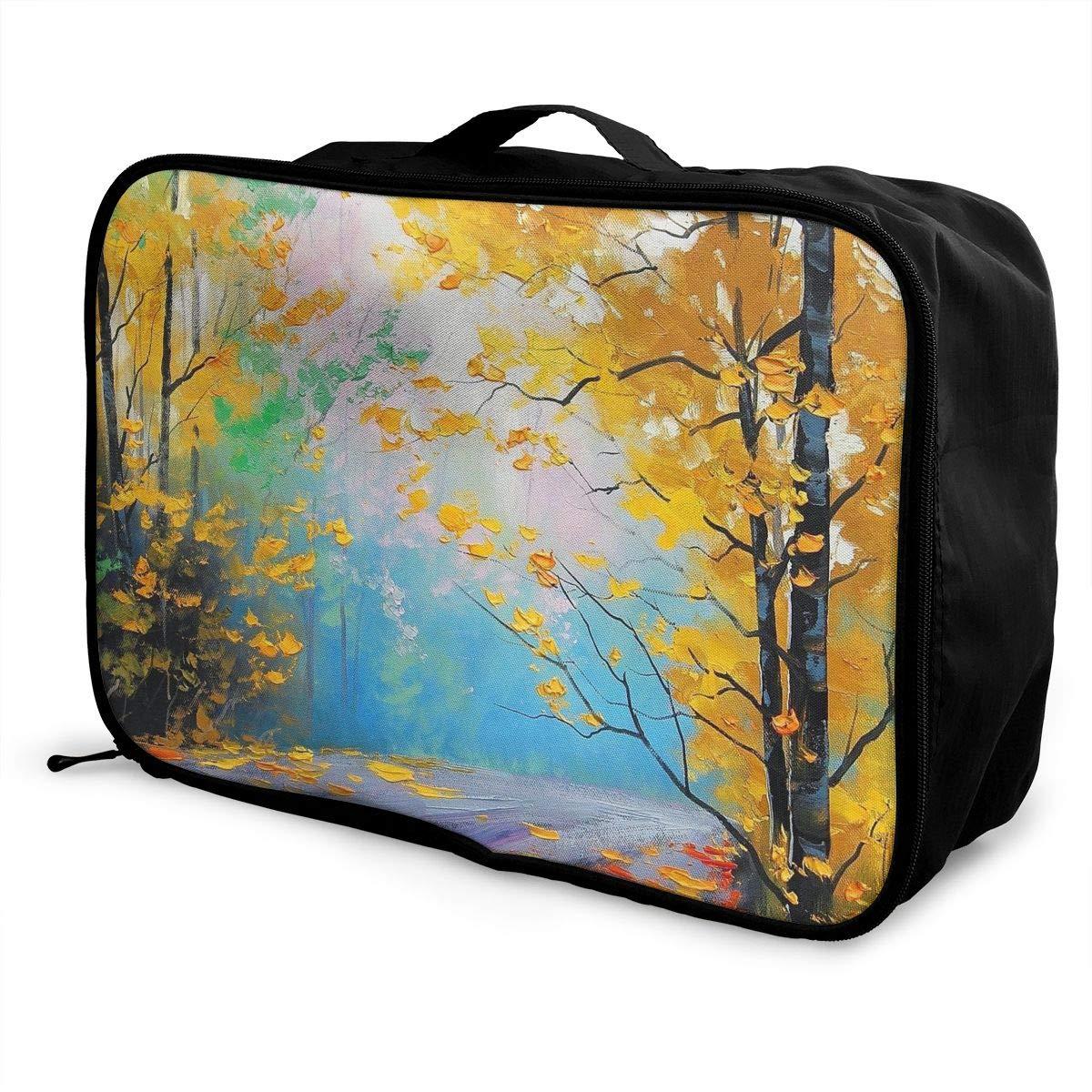 Travel Luggage Duffle Bag Lightweight Portable Handbag Trees Leaves Print Large Capacity Waterproof Foldable Storage Tote