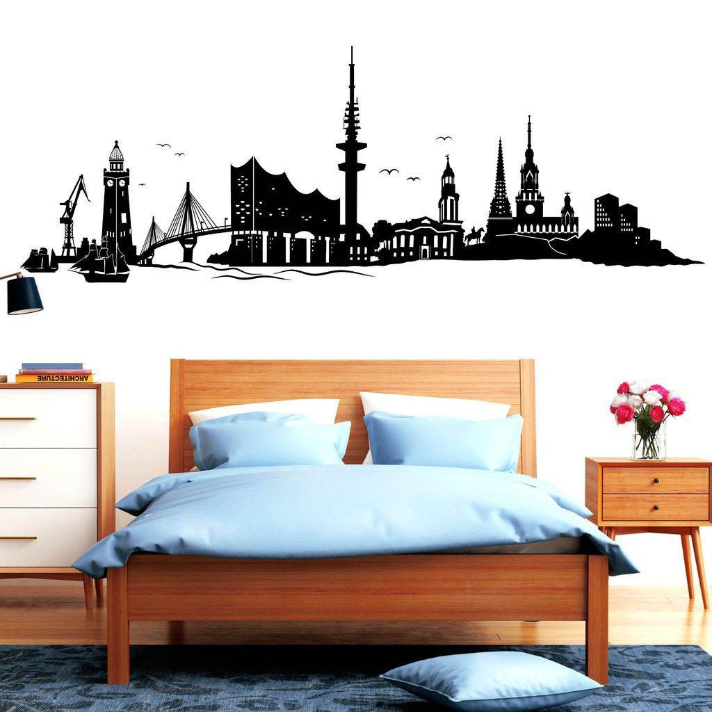 Wandtattoo Skyline Hamburg Hamburg Hamburg mit Elbphilharmonie von Wandtattoo-Loft®   Hafenstadt an der Elbe   Wandsticker   Wandaufkleber   54 Farben   3 Größen   schwarz   55 cm hoch x 160 cm breit B078Y8XLVL Wandtattoos & Wandbilder a055b9
