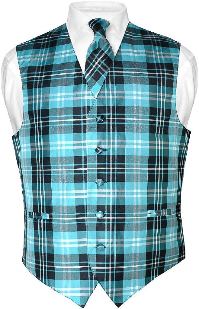 Men's Plaid Design Dress Vest & Necktie Black Turquoise White Neck Tie Set