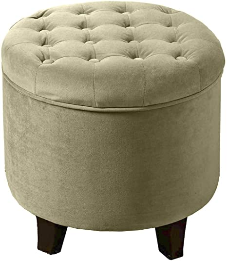 Homepop By Kinfine Fabric Upholstered Round Storage Ottoman Velvet Button Tufted Ottoman With Removable Lid Tan Furniture Decor