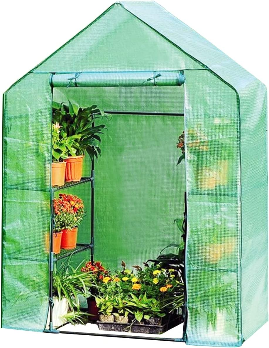 Giantex Mini Portable Walk-in Plant Greenhouse for Outdoors Indoors 4 Tier 8 Shelves Garden Green House