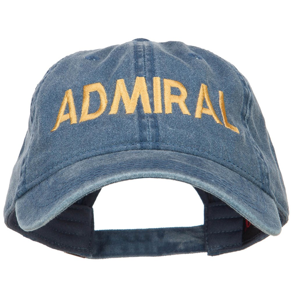 e4Hats.com Admiral Embroidered Washed Buckle Cap