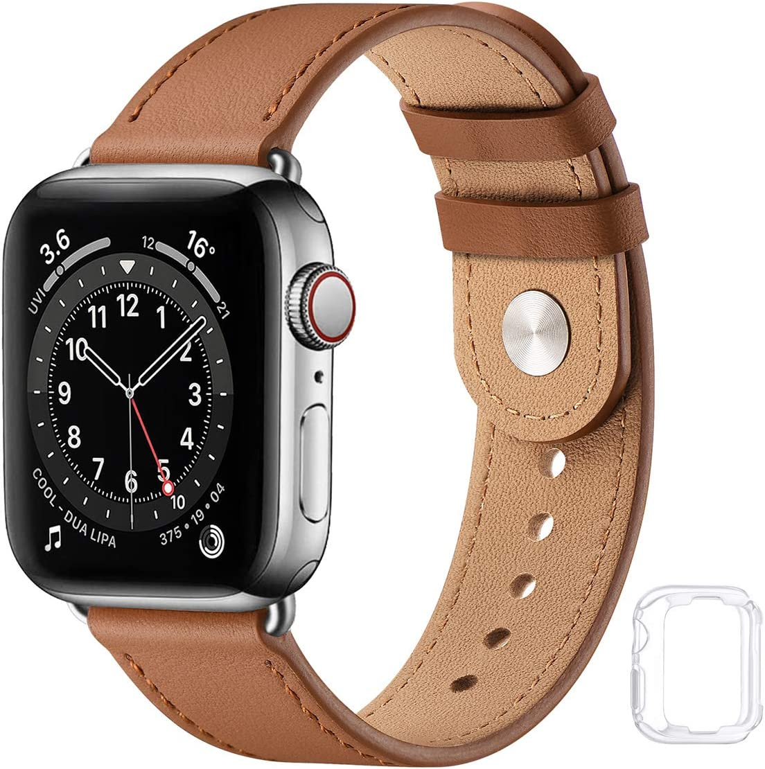 Leather Band Compatible with Apple Watch Bands 44mm 42mm 40mm 38mm, Genuine Soft Leather Replacement Wristband Strap for Men Women for iWatch SE Series 6 5 4 3 2 1(Brown/Silver,42MM 44MM)