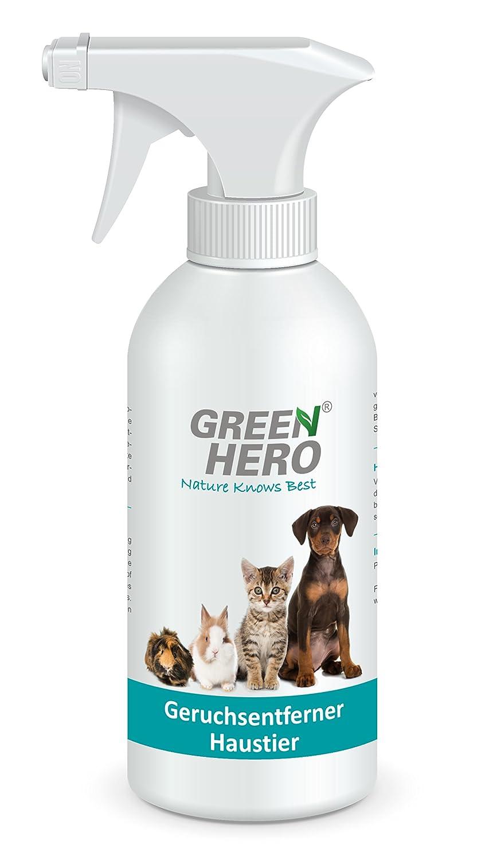 Green Hero® - Spray désodorisant pour chat, chien et rongeurs, 500ml, 100% Naturel, sans substance néfaste à l'environnement et parfum, doux pour la peau Futura GmbH