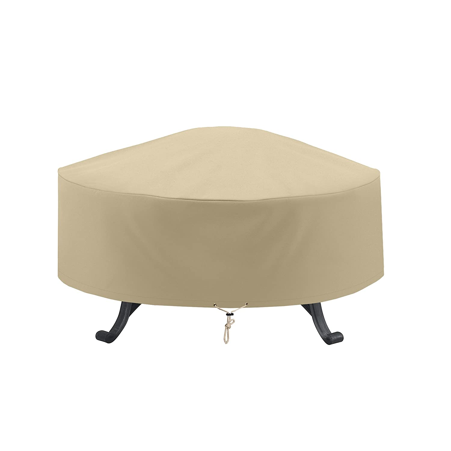 SunPatio Outdoor Fire Pit Cover, 32 Dia x 14 H, Patio Round Ottoman Cover, Waterproof Table Cover, Heavy Duty Veranda Furniture Cover, All Weather Protection, Beige 32 Dia x 14 H SD20021
