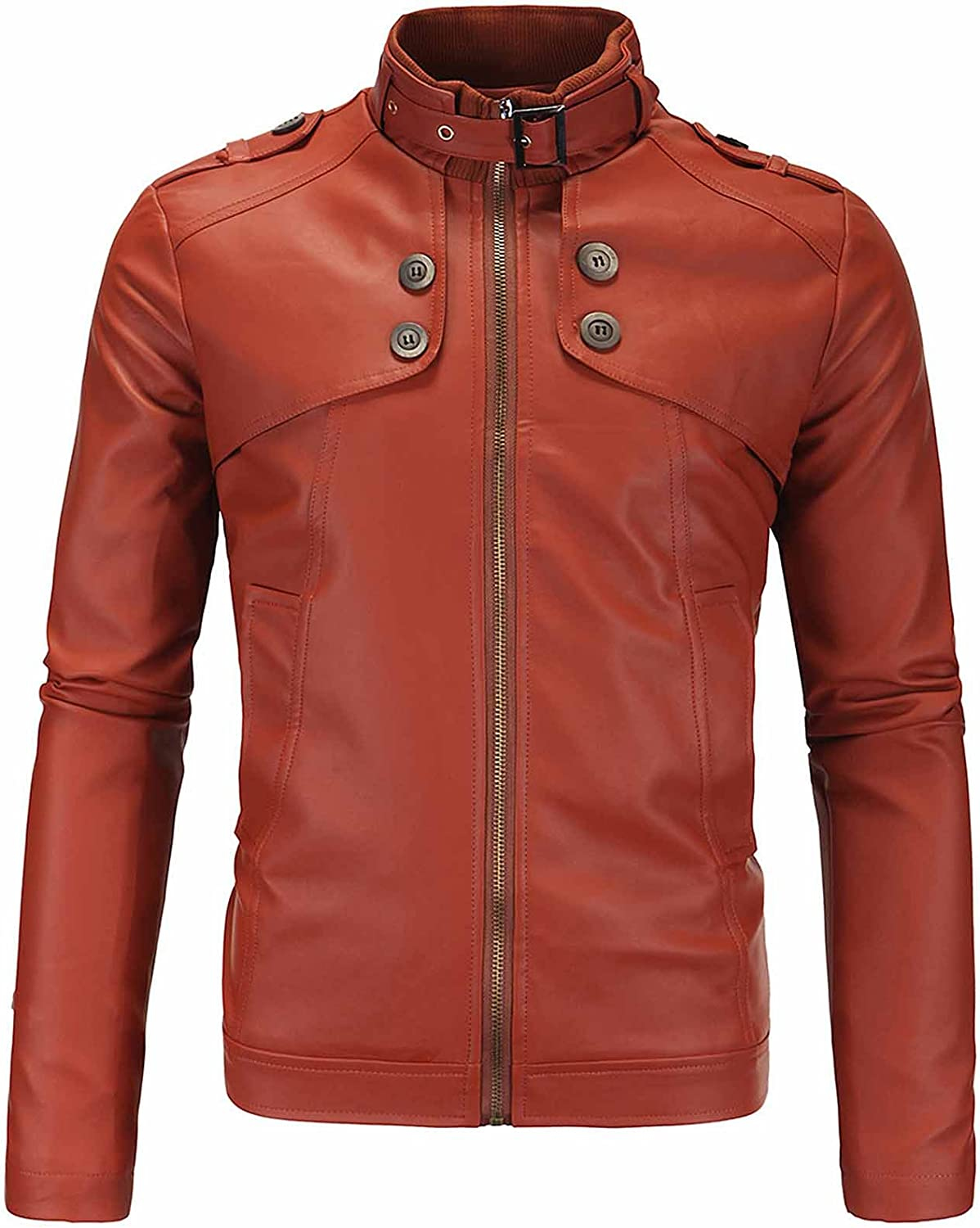 Nidicus Mens Casual Motorcycle Stand-Neck Leisure Zip-Up Faux Leather Jacket