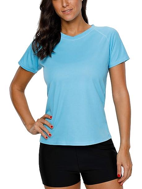 908afed2c85cc Vegatos Women's Rashguard Short Sleeve Swim Shirt Athletic Swimwear Tops M