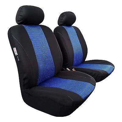 seakomoto Car Seat Covers Blue Black Front Set, Cotton Jacquard Universal Fit Trucks, Vehicles, SUVs, Pickups, Airbag Compatible Breathable Machine Washable: Automotive