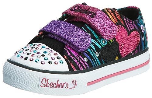 Skechers Shuffles Triple Time 10203N BKMT - Zapatillas de lona para niña, color negro, talla 22: Amazon.es: Zapatos y complementos