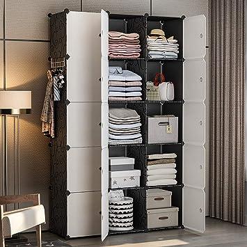 YOZO Modular Wardrobe Portable Clothes Closet Dresser Garment Rack  Polyresin Storage Organizer Bedroom Armoire Cubby Shelving Unit  Multifunction ...