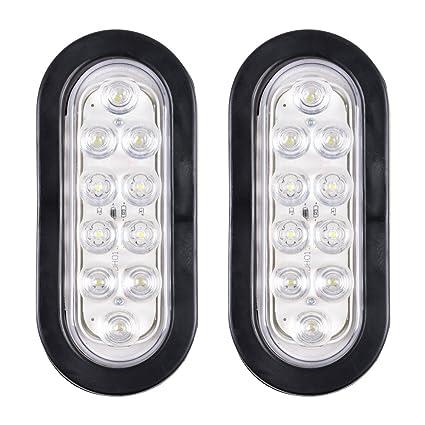 7a0391722d Amazon.com  Bright White 6000K Oval 10 LED Clear Lens Backup Reverse Fog  Light Bulb Grommet Plug Car Truck Trailer RV UTE UTV Boat Vans (2 pcs)   Automotive