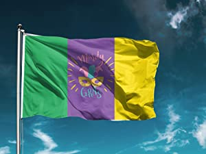 Mardi Gras Carnival Garden Flag Banner Outdoor Decoration, Green Yellow and Purple Clown Mask Polyester Flag Vivid Color and Fade Proof Fat Tuesday Flags with Grommets 2.8x5 Ft 04