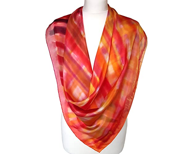 e8a25a4fb Amazon.com: Red scarf gift - Womens silk scarf - Light silk shawl - Painted silk  scarf - Women silk wrap - Abstract scarf - Silk shawl for women: Handmade