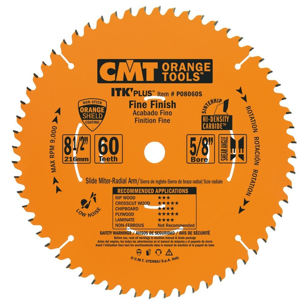 CMT P08060S ITK Plus Finish Sliding Compound Miter Saw Blade, 8-1/2 x 60 Teeth, 10° ATB+Shear with 5/8-Inch bore by CMT