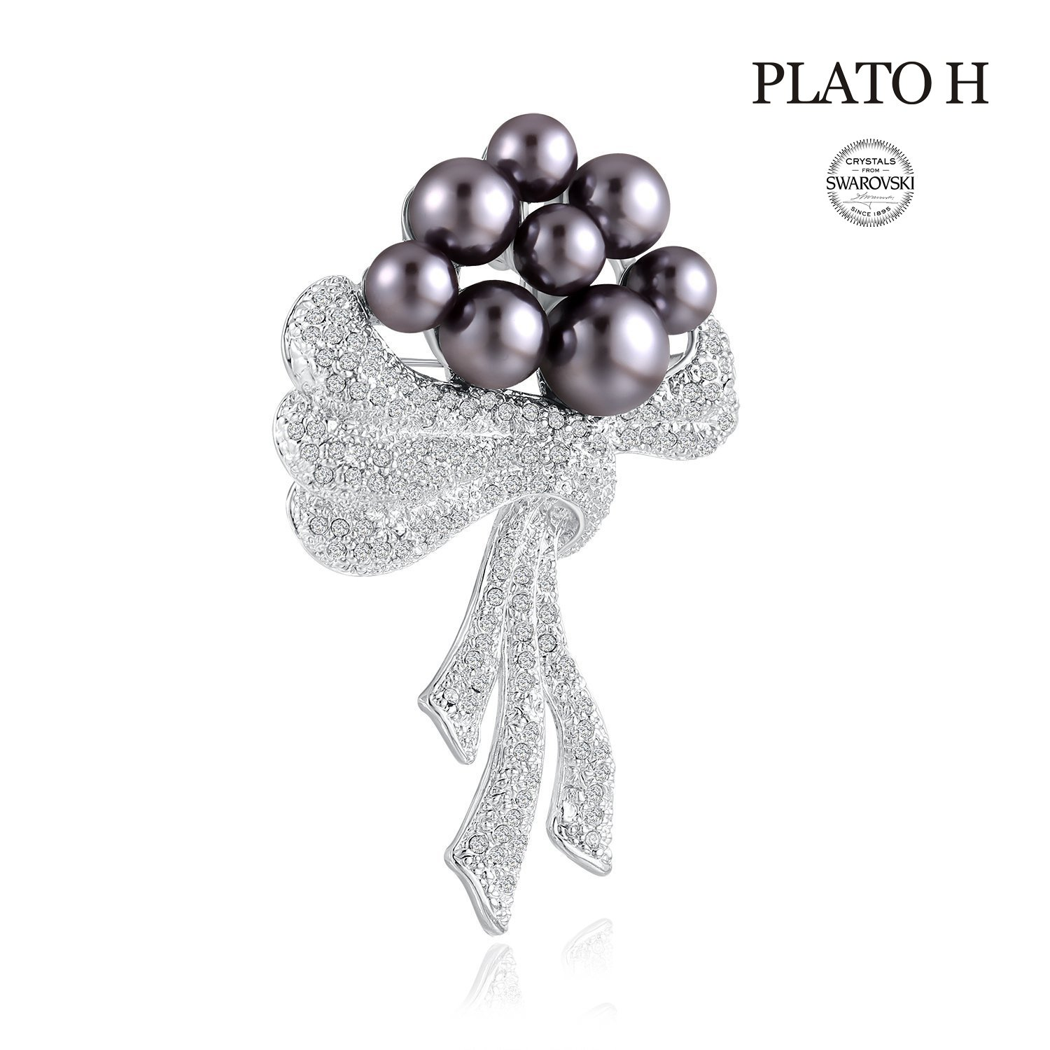 Crystal Brooch Pins PLATO H Women Fashion Jewelry Noble Cultured Pearl & Scarf Brooch with Swarovski Crystal Romantic Gift for Her
