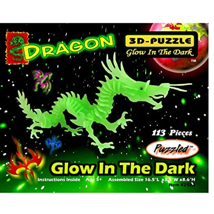 Amazon Puzzled Glow In The Dark Dragon 3d Jigsaw Puzzle 113
