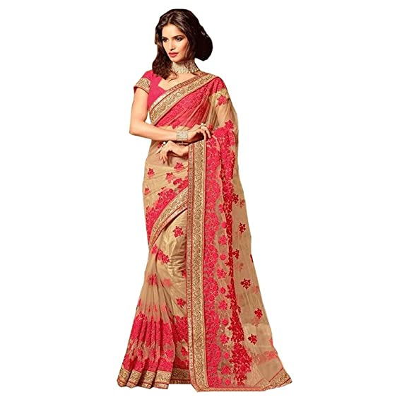 7560343a3 Bigben Textile Women's Georgette Saree With Blouse Piece(Bigben-0101_Beige_Free  Size)