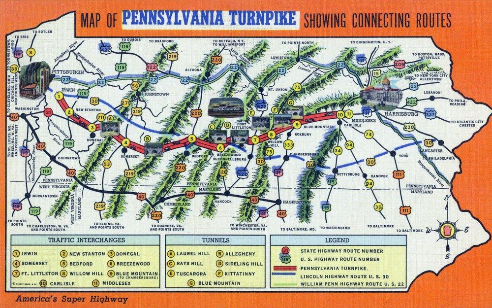 Pennsylvania – マップはがきの状態を示すPennsylvania Turnpike 36 x 54 Giclee Print LANT-30326-36x54 36 x 54 Giclee Print  B01MFB5B1C