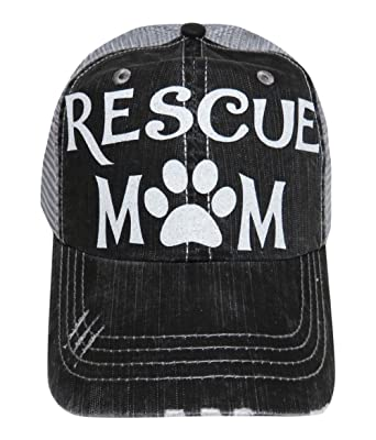 a03965d4c58 White Glitter Rescue Mom Grey Trucker Baseball Cap Pet Animal Dog ...