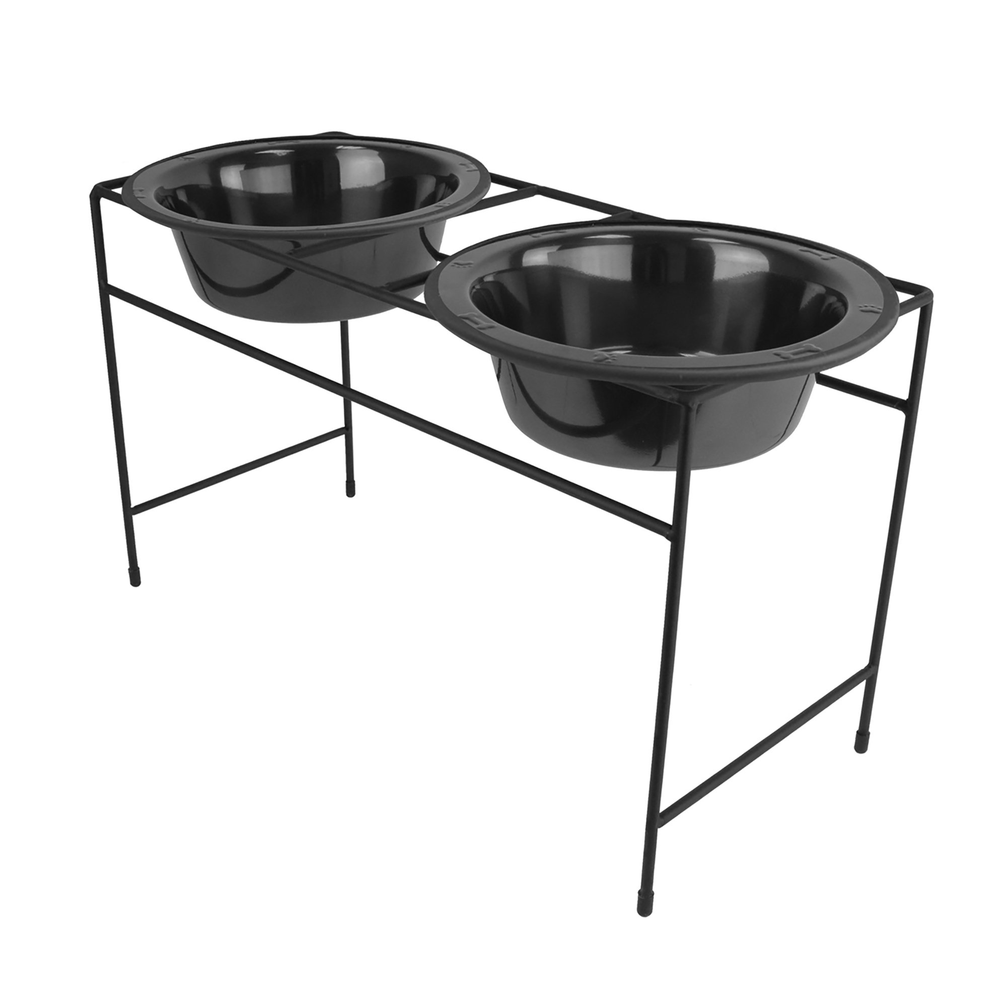 Platinum Pets Double Diner Feeder with Stainless Steel Dog Bowls, 6.25 cup/50 oz, Black Chrome
