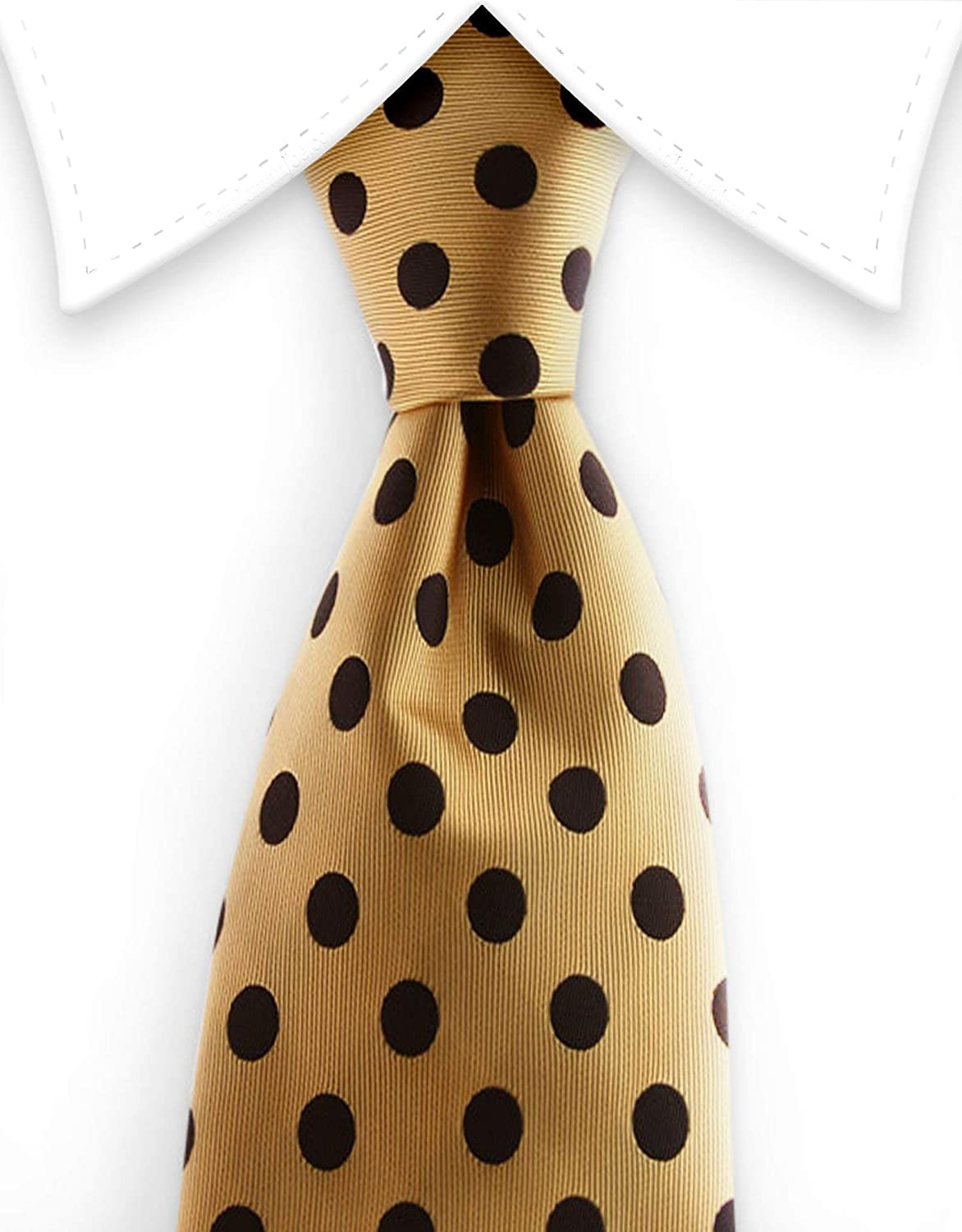 Big and Tall Menswear Gentleman Joe Gold And Black Polka Dot Extra Long 64 Necktie