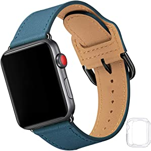 Compatible with Apple Watch Band 38mm 40mm 42mm 44mm, Soft Leather Watch Band Replacement Strap for iWatch SE Series 6 5 4 3 2 1 (Olympic Blue with Black, 38MM/40MM)