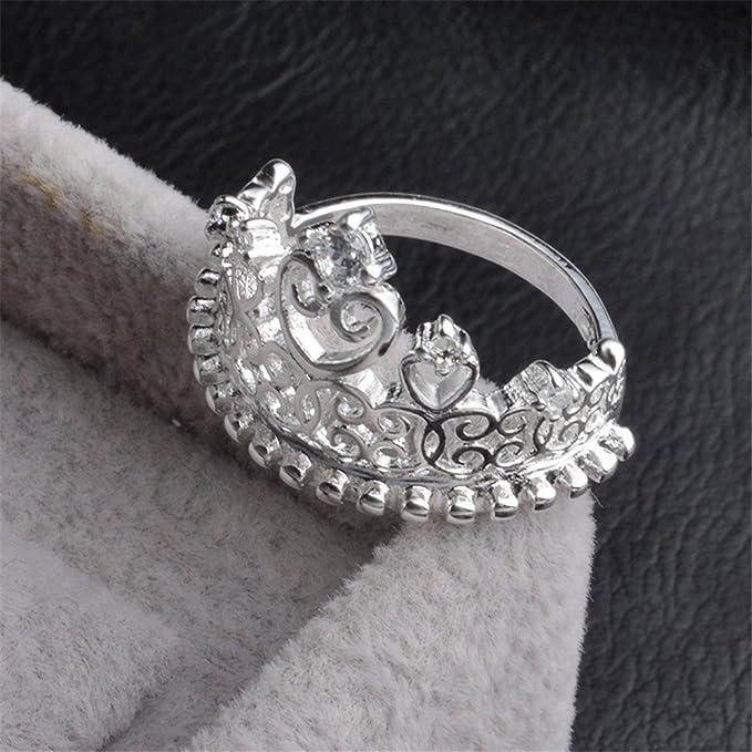 Skyllc Anillo de la corona delicada princesa reina de piedra de plata de plata delicada chapado de la Mujer: Amazon.es: Juguetes y juegos
