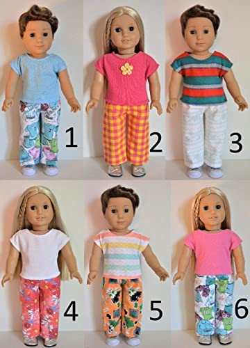"Handmade Doll Clothes Pajamas Top Pants fit 18/"" American Girl Boy Christmas L"