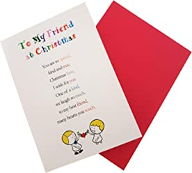 to My Friend at Christmas - Cute Christmas Luxury Greetings Cards by Clarabelle Cards 5 x 7 inches