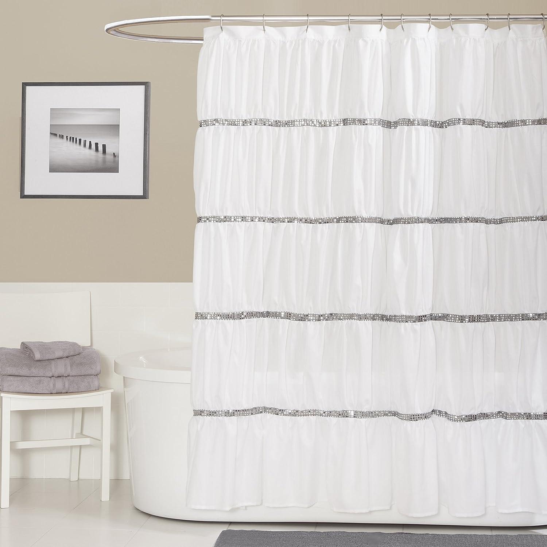 Amazon.com: Lush Decor Twinkle Shower Curtain, White: Home & Kitchen