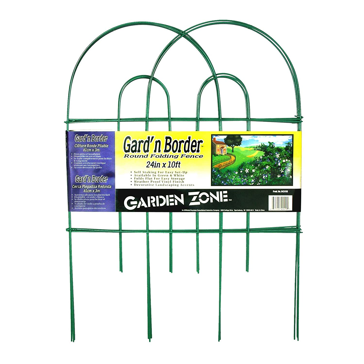 Amazon.com : Origin Point Gard\'n Border Round Folding Fence, Green ...
