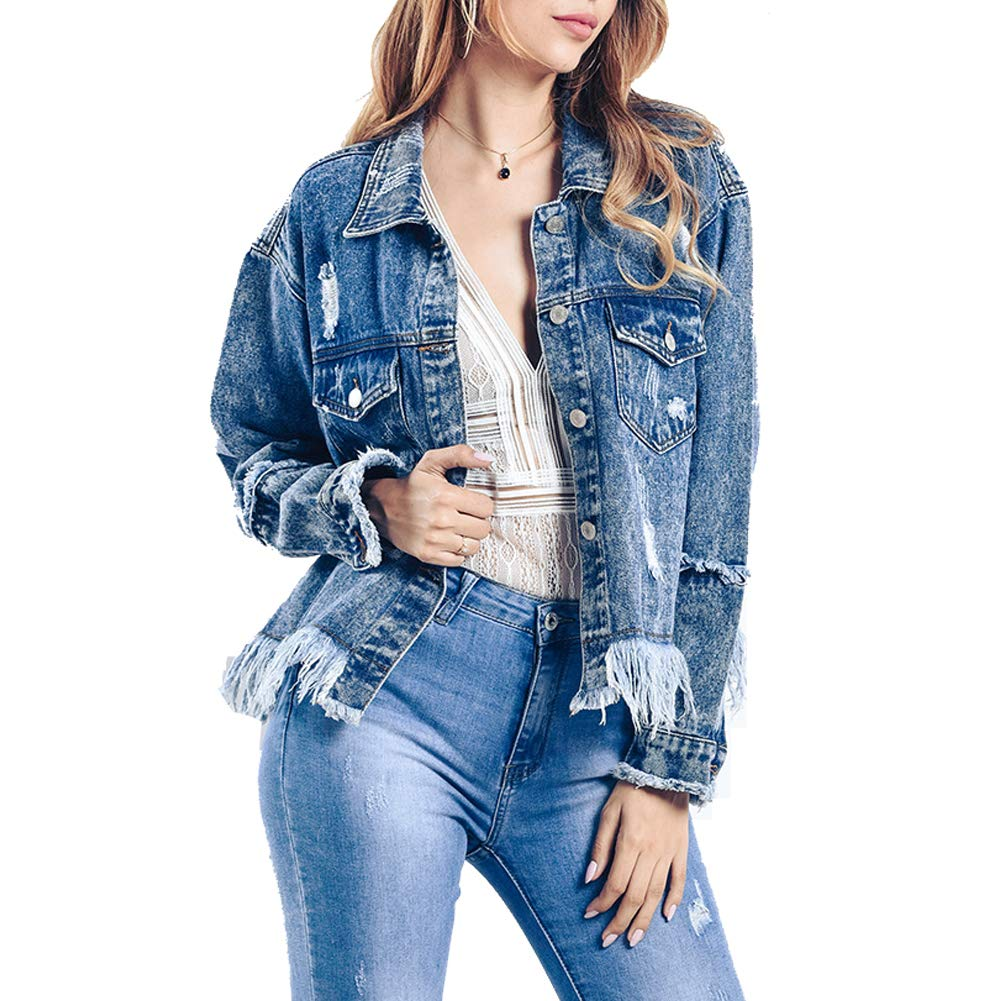 LIYT Women's Distressed Boyfriend Denim Jacket Long Sleeve Loose Jean Jacket Coats
