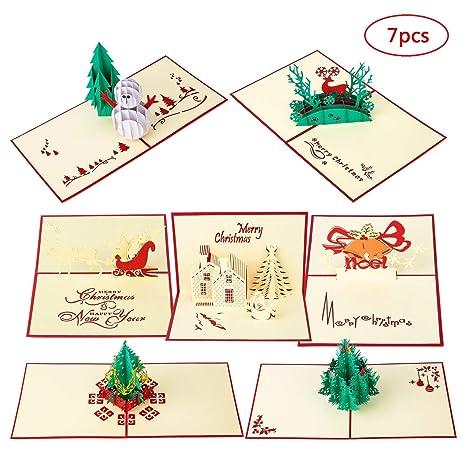 Amazon.com: MISS FANTASY Tarjetas de Navidad 3D Pop Up ...