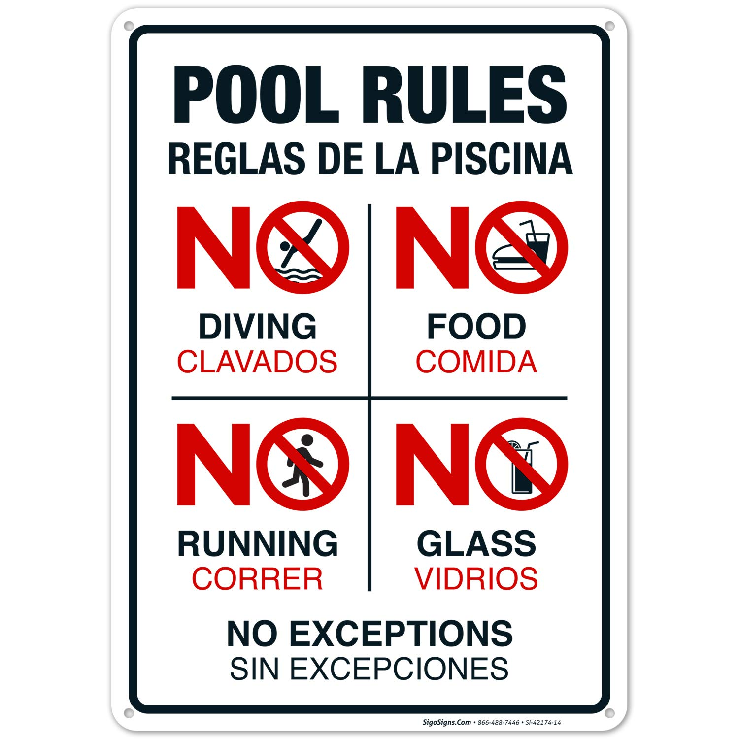 Pool Rules Sign, No Diving No Running No Food No Glass, Bilingual English and Spanish, 10x14 Rust Free Aluminum, Weather/Fade Resistant, Easy Mounting, Indoor/Outdoor Use, Made in USA by SIGO SIGNS