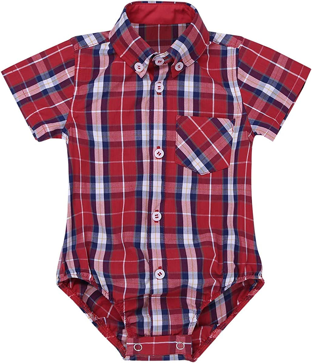 Agoky Baby Jungen Trachten Hemd Karriert Strampler Shirt Tops Kinder Trachtenhemd Kleinkind Overalls Freizeithemd Karohemd 3-24 Monate