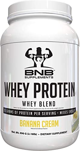BNB 100 Whey Protein – Banana Cream Flavor Flavor- 21g of Protein per Serving – 30 Servings – Mixes Easily – Delicious Protein Recovery Shake – by BNB Supplements