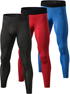 Yuerlian Mens Compression Pants Baselayer Cool Dry Sports Tights Leggings Colorful Print 3 Pack