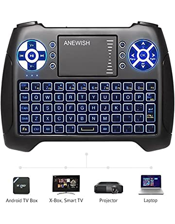 (2019 Latest, Backlit) ANEWISH 2.4GHz Mini Wireless Keyboard with Touchpad Mouse Combo