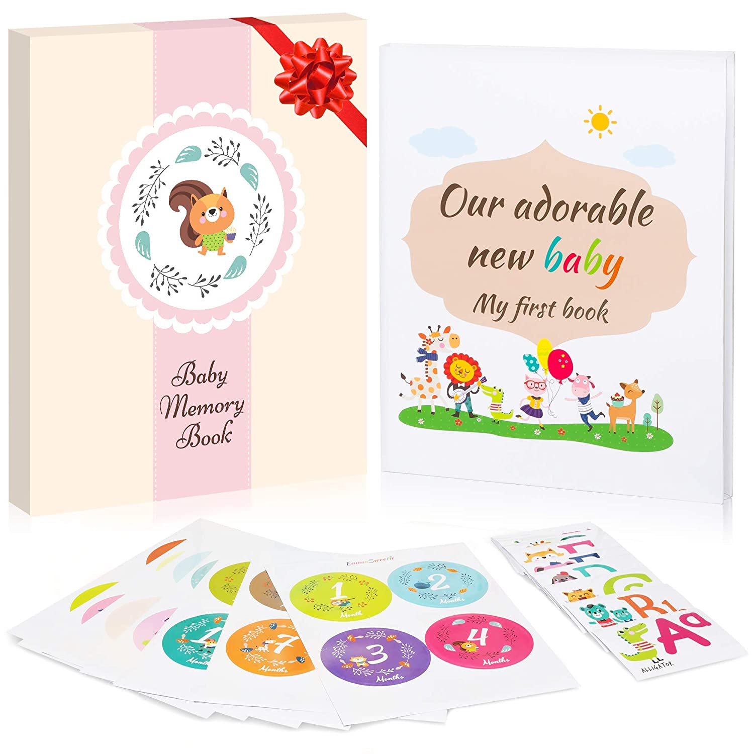 Baby Memory Book + Pink Gift Box + 28 Milestone Stickers. Capture Baby's First 5 Years of Milestones, Memories, Moments, Holidays, and Firsts in This 64-Page Journal Scrapbook by EmmaSweetie
