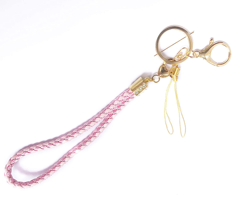 Women Leather Keychain, Fashion Key Chain for Women Men, Braided Leather Car Keychain Handmade Keys Strap, Car Circle Key Rings Gift Bag Hanging Buckle (Pink) Maria Wang